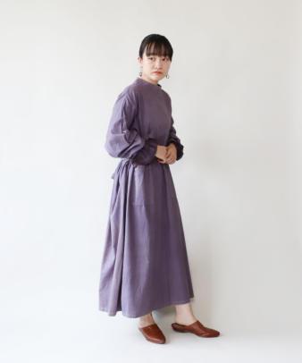 H.A.L.U 草木染め ロッグウッド  / ビンテージサージカルガウンリメイクワンピース