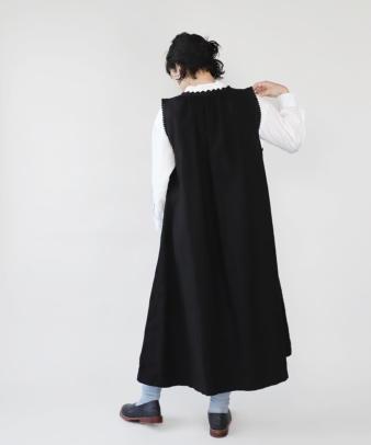 京都紋付黒染め / ビンテージコットンリメイクワンピース_4