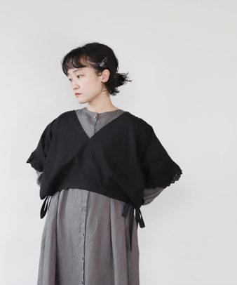 京都紋付黒染め / ビンテージコットンリメイクトップス