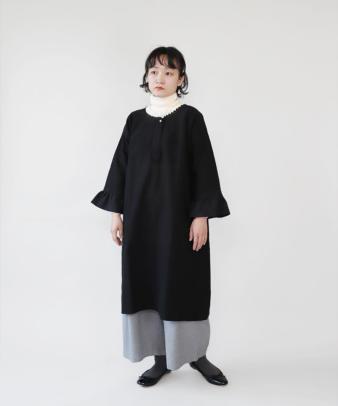 京都紋付黒染め / ビンテージリネンリメイクワンピース_1