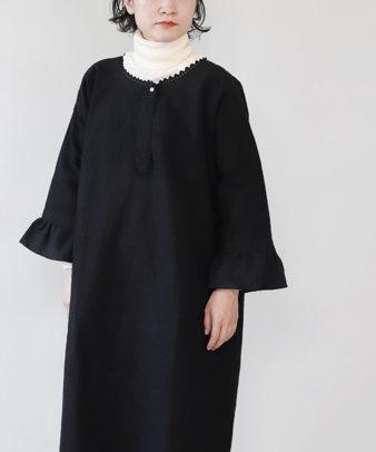 京都紋付黒染め / ビンテージリネンリメイクワンピース_2