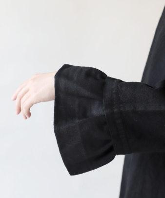 京都紋付黒染め / ビンテージリネンリメイクワンピース_5