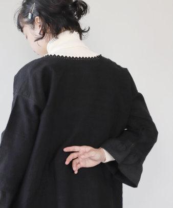 京都紋付黒染め / ビンテージリネンリメイクワンピース_6