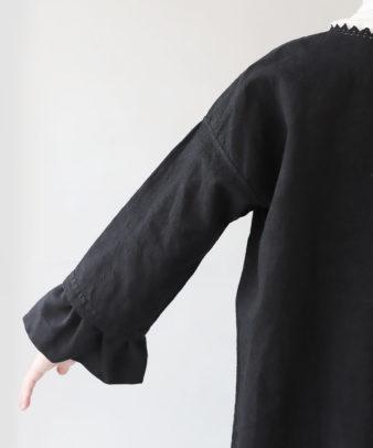 京都紋付黒染め / ビンテージリネンリメイクワンピース_8