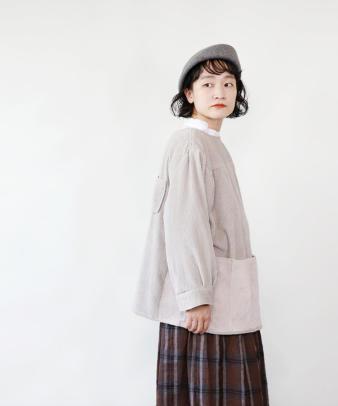 mumokuteki /オリジナルコーディロイリメイクトップス グレージュ_3