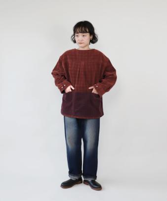 mumokuteki /オリジナルコーディロイリメイクトップス レンガ_2