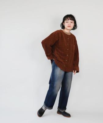 mumokuteki /オリジナルコーディロイリメイクトップス レンガ_11