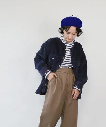 mumokuteki /オリジナルコーディロイリメイクトップス ネイビー_5