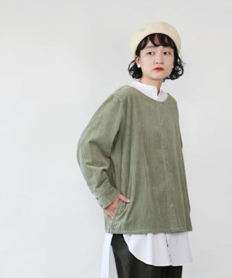 mumokuteki /オリジナルコーディロイリメイクトップス グリーン_1