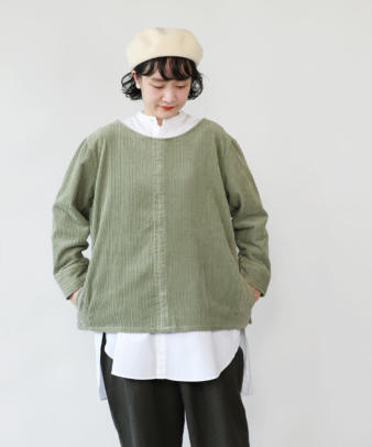 mumokuteki /オリジナルコーディロイリメイクトップス グリーン_2