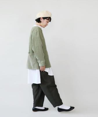 mumokuteki /オリジナルコーディロイリメイクトップス グリーン_6